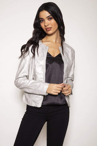 Rino & Pelle Jackets 10 / Silver Faux Leather Jacket in Silver