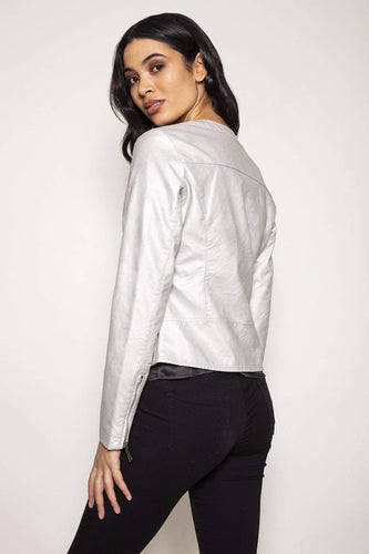 Rino & Pelle Jackets Faux Leather Jacket in Silver