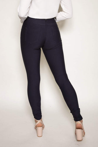 Peruzzi Trousers Faux Leather Trim Trousers in Navy