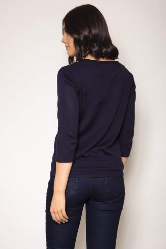 Voulez Vous Jumpers Feather Knit Top in Navy