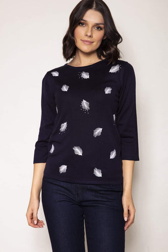 Voulez Vous Jumpers Navy / S Feather Knit Top in Navy
