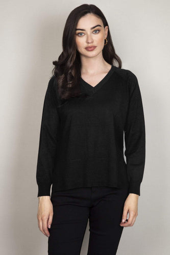 Rowen Avenue Jumpers Black / S Fine Gauge Knit in Black