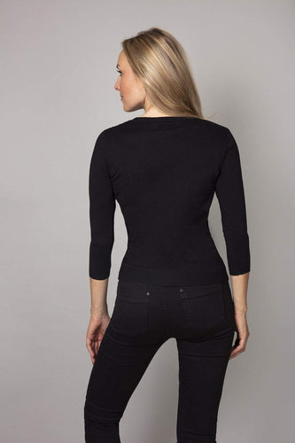 Rowen Avenue Tops Fine Sequin Knit in Black