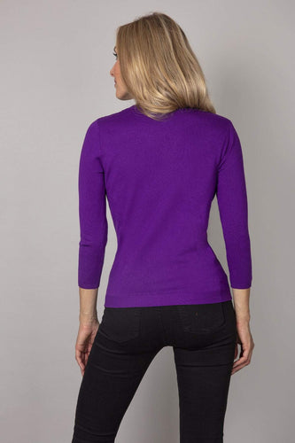 Rowen Avenue Tops Fine Sequin Knit in Purple
