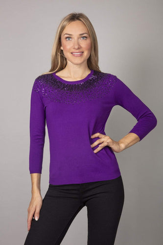 Rowen Avenue Tops Purple / S Fine Sequin Knit in Purple
