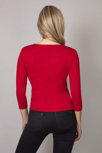 Rowen Avenue Tops Fine Sequin Knit in Red
