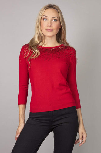 Rowen Avenue Tops Red / S Fine Sequin Knit in Red