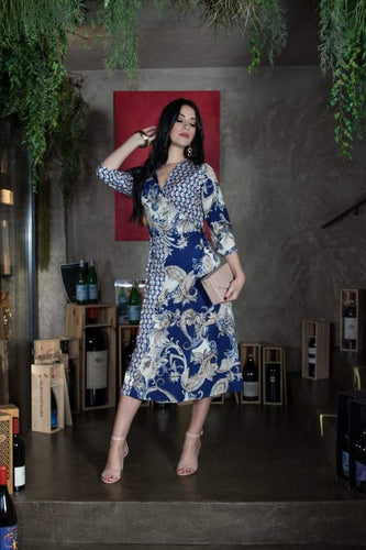 Kate & Pippa Dresses Navy / XS / Midi Firenze Full Wrap Dress in Navy Print