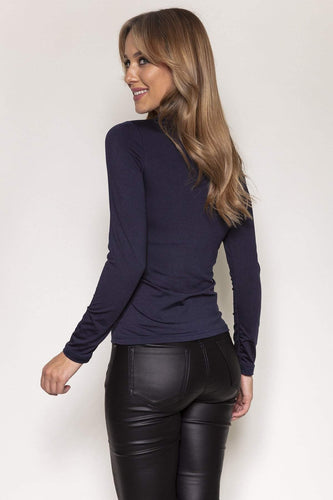 Nova of London Tops Fleece Lined Roll Neck in Navy