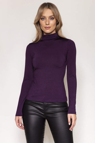 Nova of London Tops Purple / S / Long Sleeve Fleece Lined Roll Neck in Purple