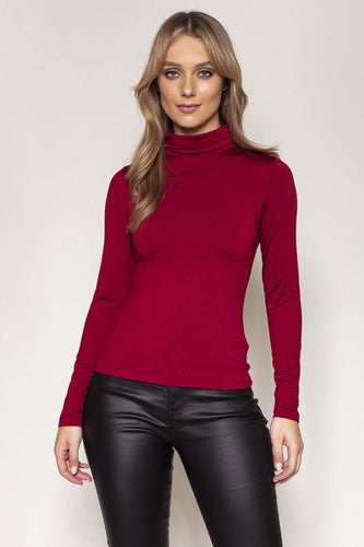 Nova of London Tops Red / S / Long Sleeve Fleece Lined Roll Neck in Red