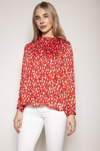 Rowen Avenue Tops Red / S / Long Sleeve Floral Blouse in Rose Print