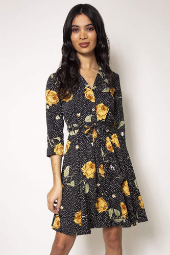 Nova of London Dresses Black / 8 / Mini Floral Print Dress in Black