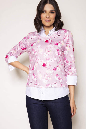 Voulez Vous Jumpers Pink / 10 Floral Print Top Shirt Collar in Pink