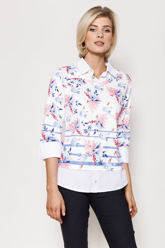 Voulez Vous Jumpers White / 10 Floral Print Top Shirt Collar in White