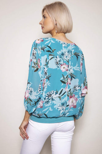 Pala D'oro Tops Floral Printed Blouse in Aqua
