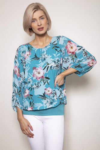 Pala D'oro Tops Blue / S/M / Long Sleeve Floral Printed Blouse in Aqua
