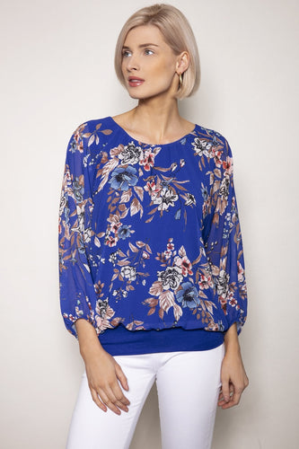 Pala D'oro Tops Blue / S/M / Long Sleeve Floral Printed Blouse in Blue