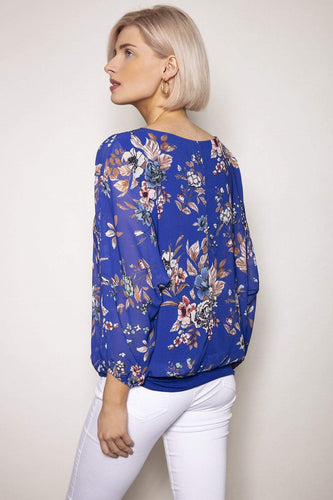 Pala D'oro Tops Floral Printed Blouse in Blue