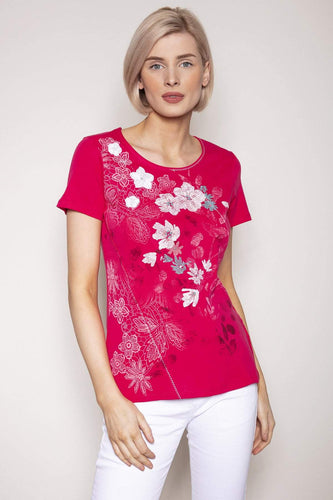 Kalisson Tops 10 / Pink / Short Sleeve Floral Printed Top in Pink
