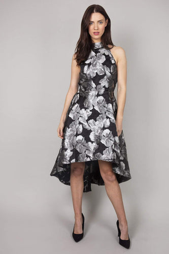 Mela London Dresses Black / 10 / Over The Knee Floral Shadow Print High Low Dress in Black