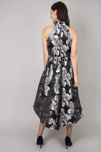 Mela London Dresses Floral Shadow Print High Low Dress in Black