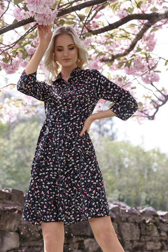 Rowen Avenue Dresses Floral Shirt Dress in Black