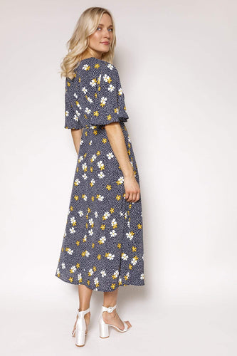 Mela London Dresses Floral Sketch Fluted Sleeve Dress in Navy