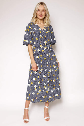 Mela London Dresses Navy / 10 / Midi Floral Sketch Fluted Sleeve Dress in Navy