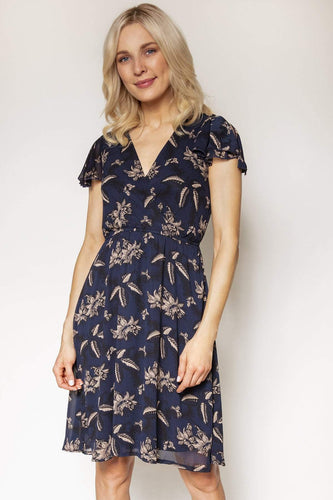 Mela London Dresses Navy / 10 / Knee length Floral Wrap Front Dress in Navy