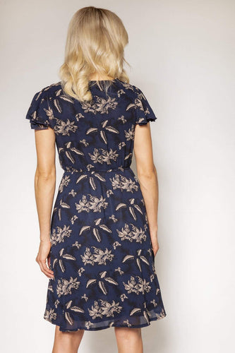 Mela London Dresses Floral Wrap Front Dress in Navy