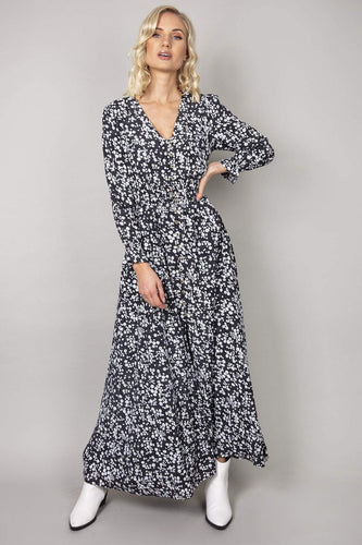 Rowen Avenue Dresses Black / 8 / Maxi Flower Long Dress in Black & White