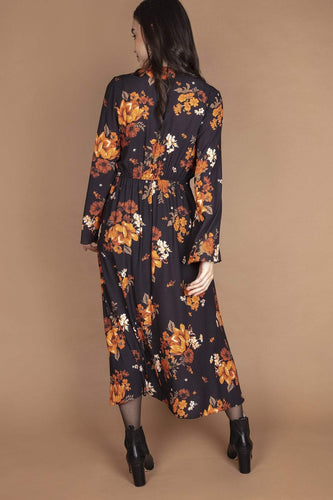 Rowen Avenue Dresses Flower Print Dress in Black