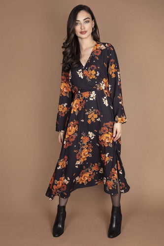 Rowen Avenue Dresses Black / 8 / Midi Flower Print Dress in Black