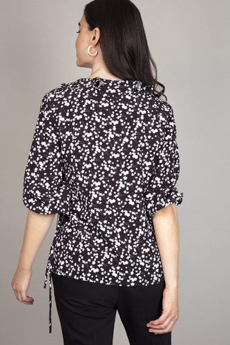 Rowen Avenue Blouses Flower Print Frill Blouse in Black