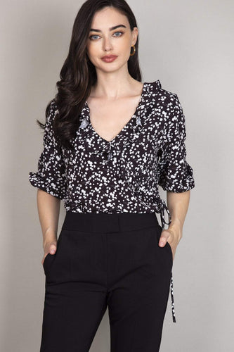 Rowen Avenue Blouses Black / 8 Flower Print Frill Blouse in Black