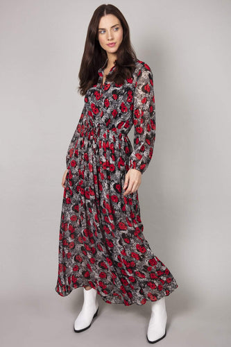 Rowen Avenue Dresses Black / S/M / Maxi Flower Print Maxi Dress  in Black