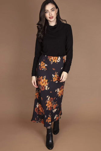 Rowen Avenue Skirts Black / 10 / Maxi Flower Print Maxi Skirt in Black