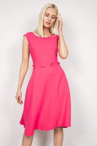Daisy May Dresses Pink / 10 / Midi Flower Trim Dress in Hot Pink