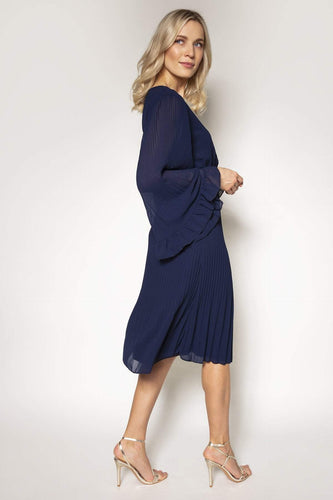 Mela London Dresses Fluted Sleeve Pleated Dress in Navy