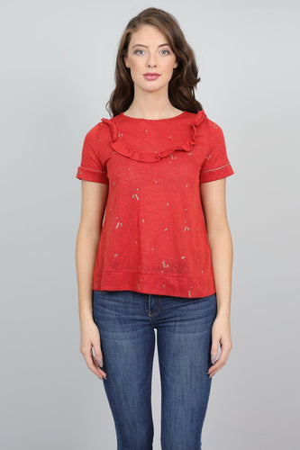 Grace & Mila Tops Red / S Frill Bib Top in Red