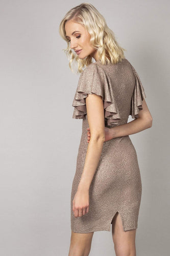 Nova of London Dresses Frill Detail Glitter  Dress in Gold