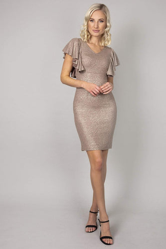 Nova of London Dresses Gold / 8 / Mini Frill Detail Glitter  Dress in Gold