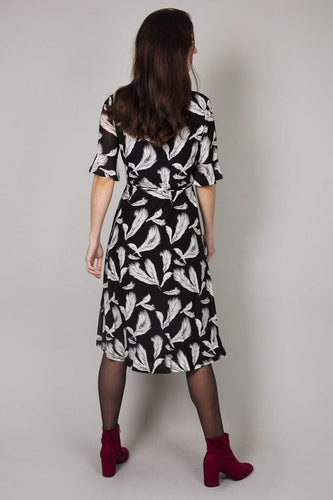 Nova of London Dresses Frill Feather Dress in Black