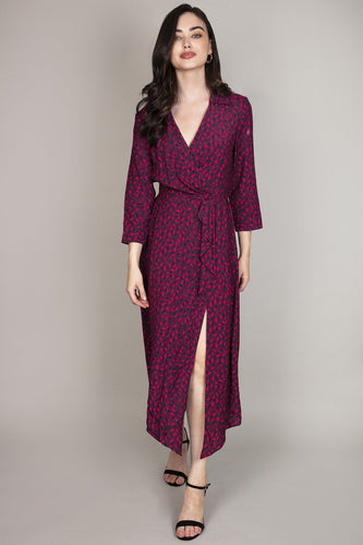 Rowen Avenue Dresses Purple / 8 / Midi Frill Front Dress in Berry Tones
