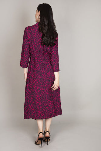 Rowen Avenue Dresses Frill Front Dress in Berry Tones