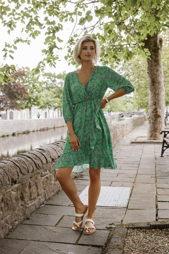 Pala D'oro Dresses Frill Front Dress in Green