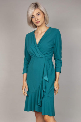 Pala D'oro Dresses Frill Front Dress in Teal