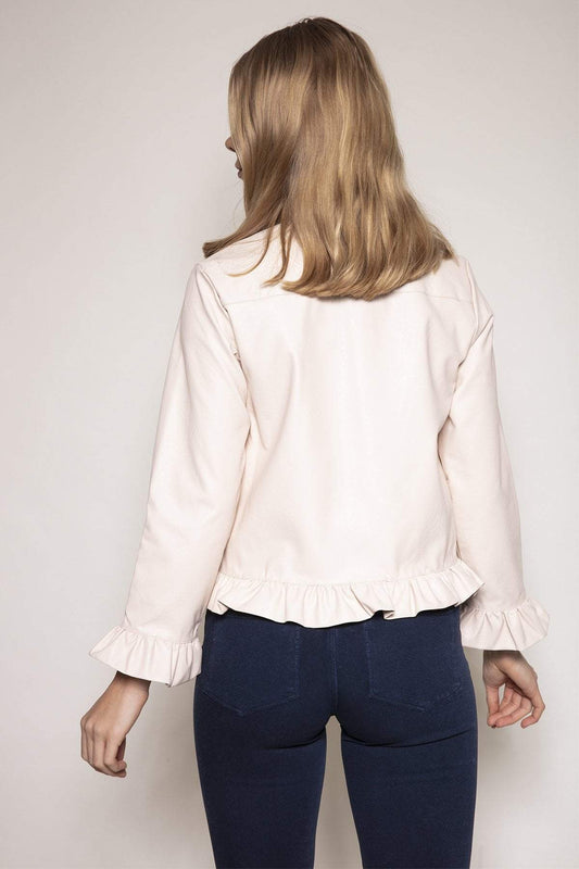 Rowen Avenue Jackets Frill Front PU Jacket in Beige
