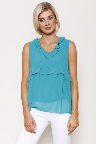 Pala D'oro Tops Green / S/M / Sleeveless Frill Front Top in Green